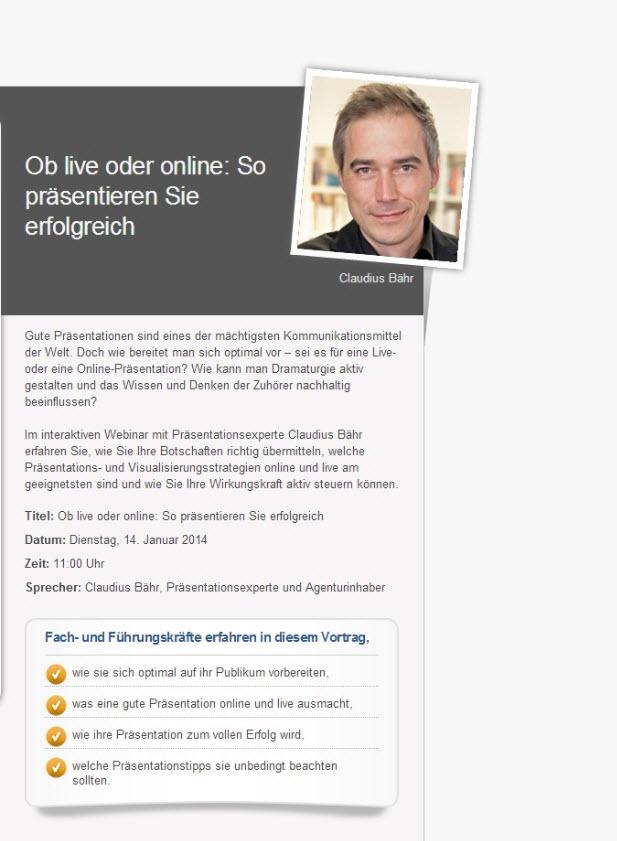 Webinar: Ob live oder online &#8211; So präsentieren Sie erfolgreich<br>Tipps und Tricks für die nächste Präsentation