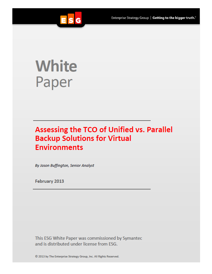 Assessing the TCO of Unified vs. Parallel Backup Solutions for Virtual Environments