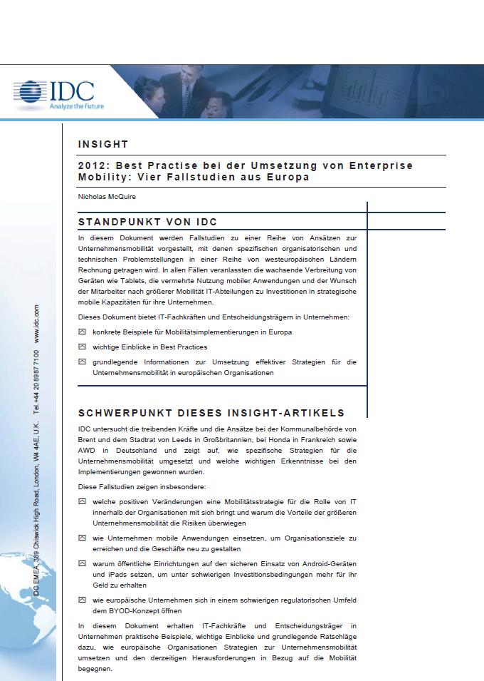 Best Practise bei der Umsetzung von Enterprise Mobility: Vier Fallstudien aus Europa
