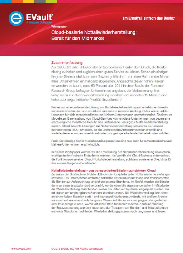 Cloud-basierte Notfallwiederherstellung: Bereit für den Midmarket