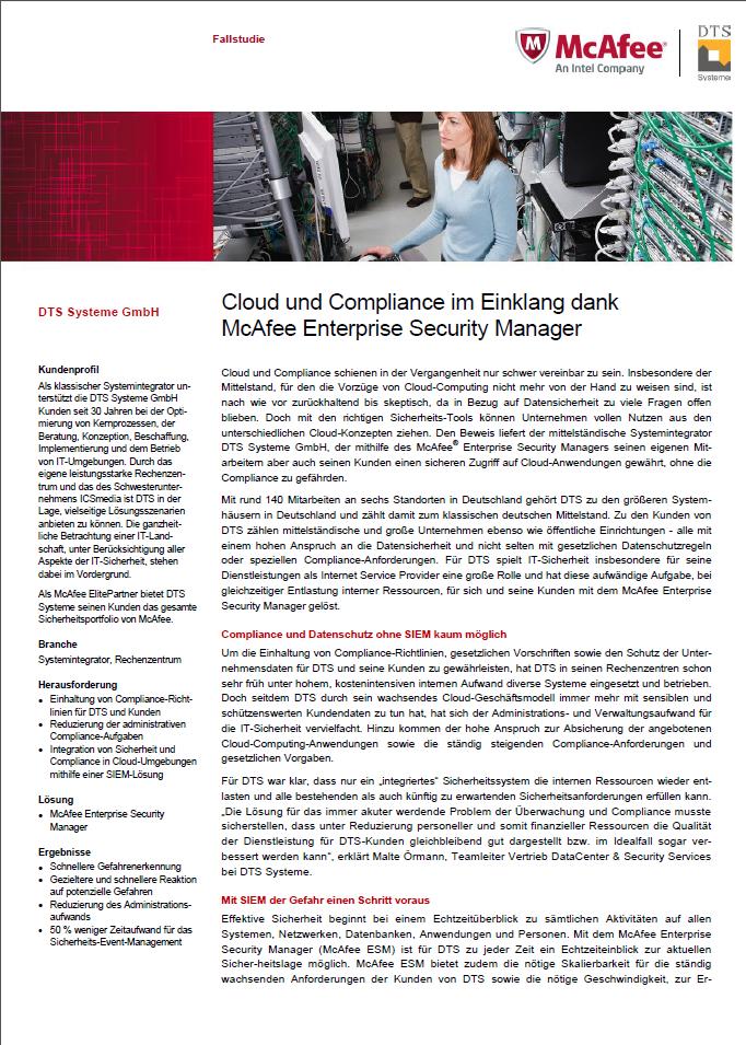 Cloud und Compliance im Einklang dank McAfee Enterprise Security Manager