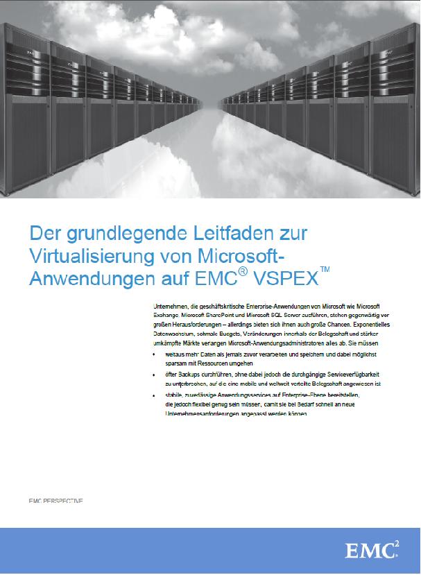 Der grundlegende Leitfaden zur Virtualisierung von Microsoft Anwendungen auf EMC VSPEX