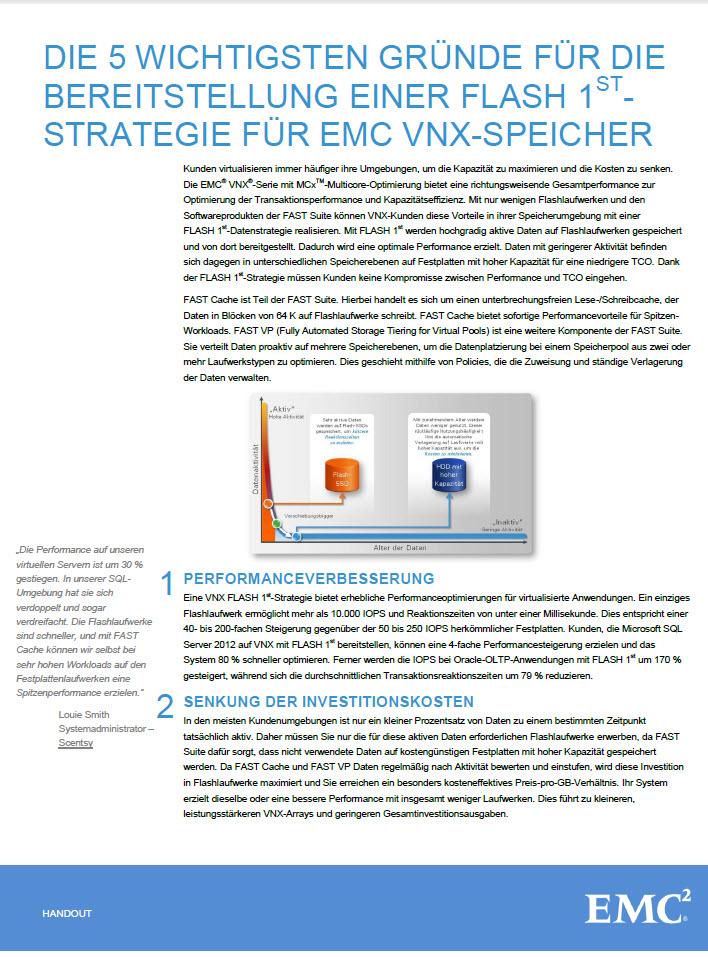 Die 5 wichtigsten Gründen für die Bereitstellung einer Flash 1st – Strategie für EMC VNX-Speicher
