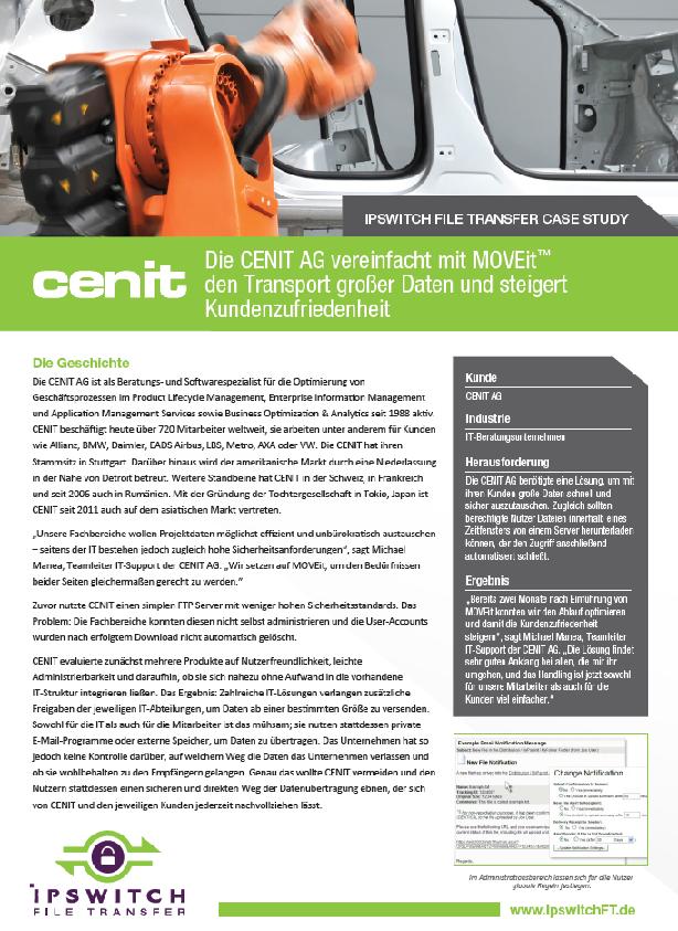 Die CENIT AG vereinfacht mit MOVEit den Transport großer Daten und steigert Kundenzufriedenheit