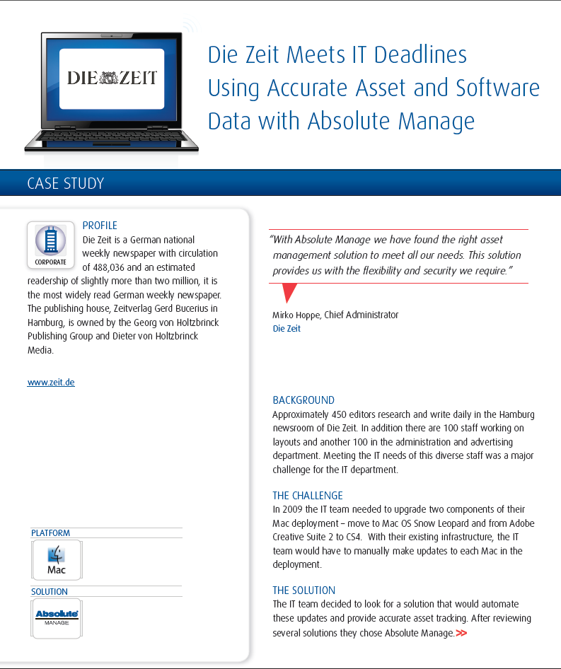 Die Zeit Meets IT Deadlines Using Accurate Asset and Software Data with Absolute Manage