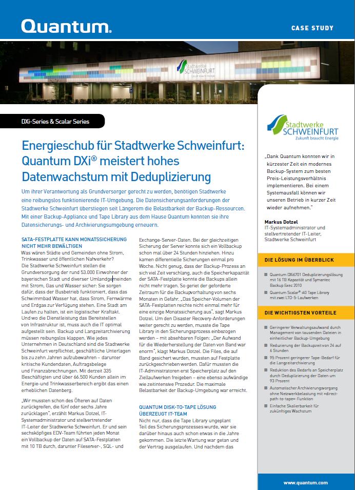 Energieschub für Stadtwerke Schweinfurt: Quantum DXi® meistert hohes Datenwachstum mit Deduplizierung