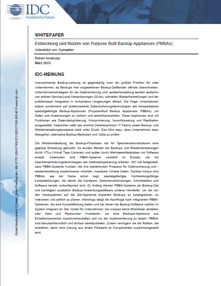 Entwicklung und Nutzen von Purpose Built Backup Appliances (PBBAs)