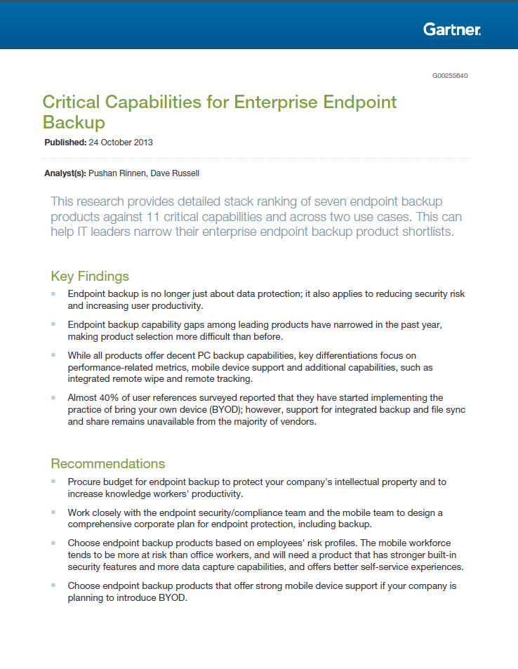 Gartner Critical Capabilities for Enterprise Endpoint Backup