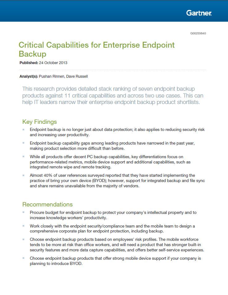 Gartner Critical Capabilities for Enterprise Endpoint Backup