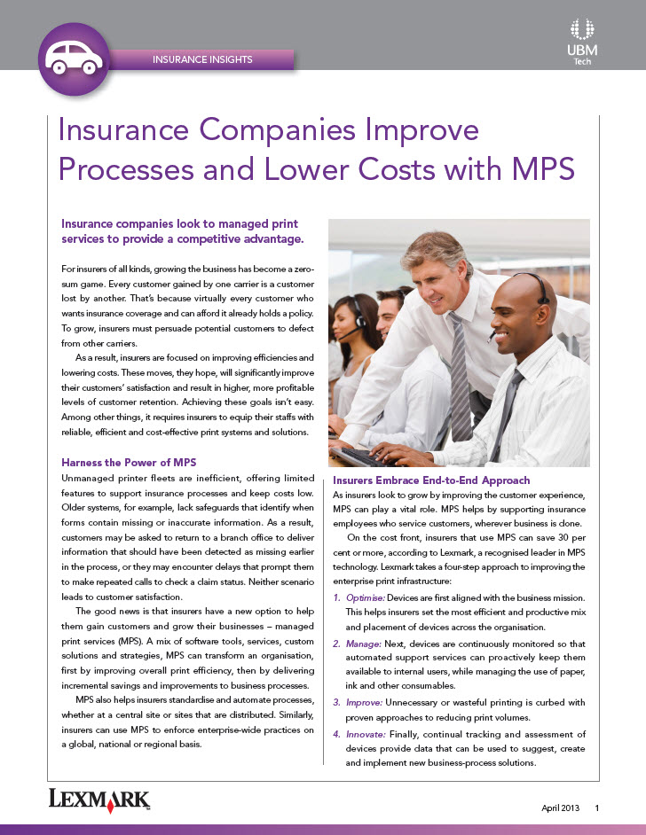 Insurance Companies Improve Processes and Lower Costs with MPS