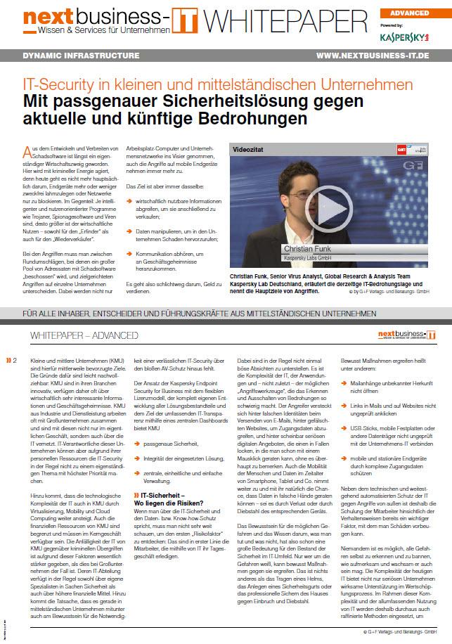IT-Security in kleinen und mittelständischen Unternehmen – Mit passgenauer Sicherheitslösung gegen aktuelle und künftige Bedrohungen