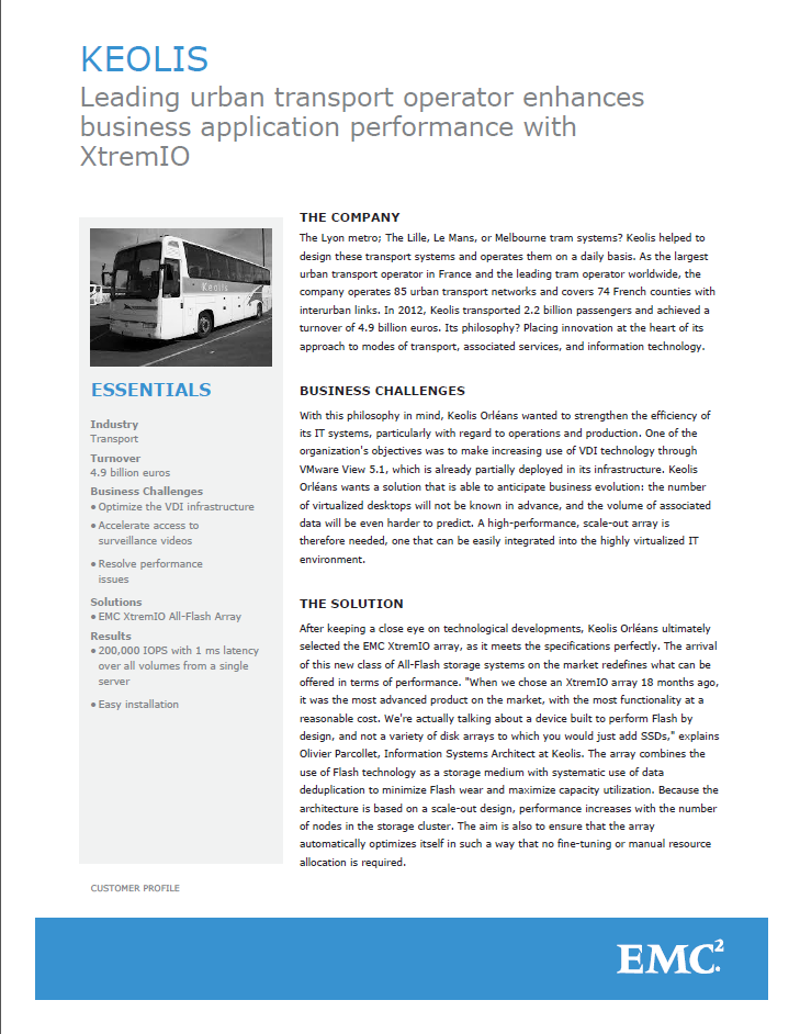 KEOLIS: Leading urban transport operator enhances business application performance with XtremIO