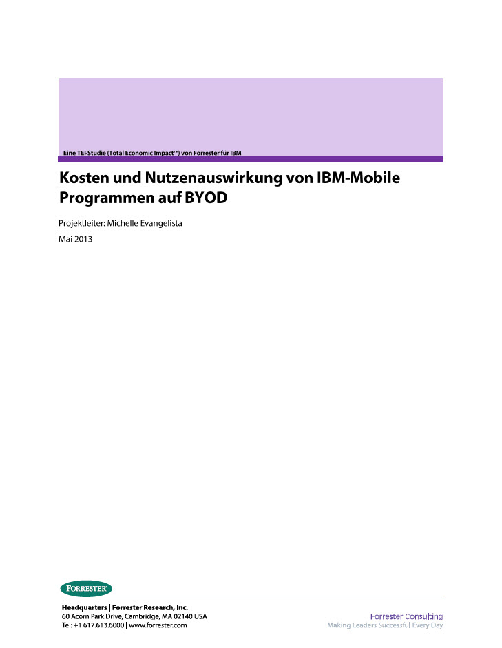 Kosten und Nutzenauswirkung von IBM-Mobile Programmen auf BYOD