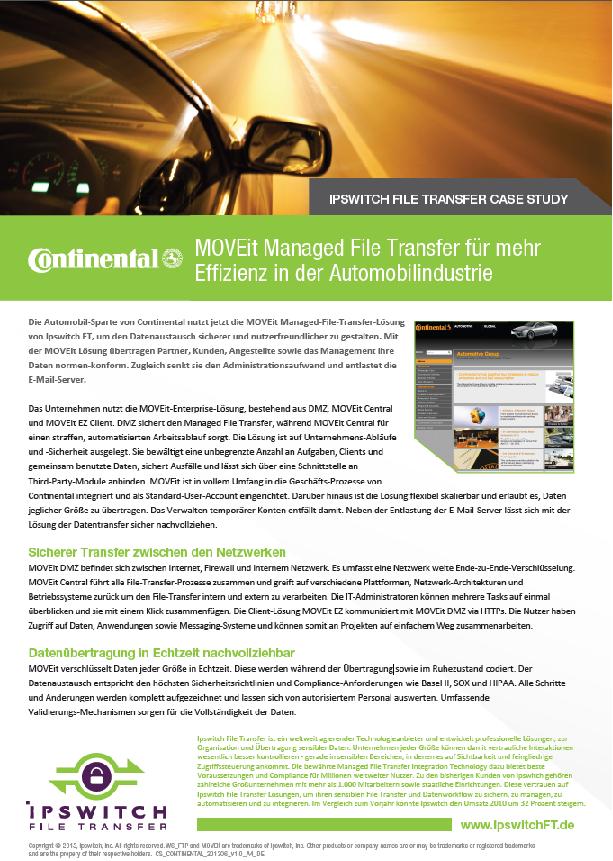 MOVEit Managed File Transfer für mehr Effizienz in der Automobilindustrie