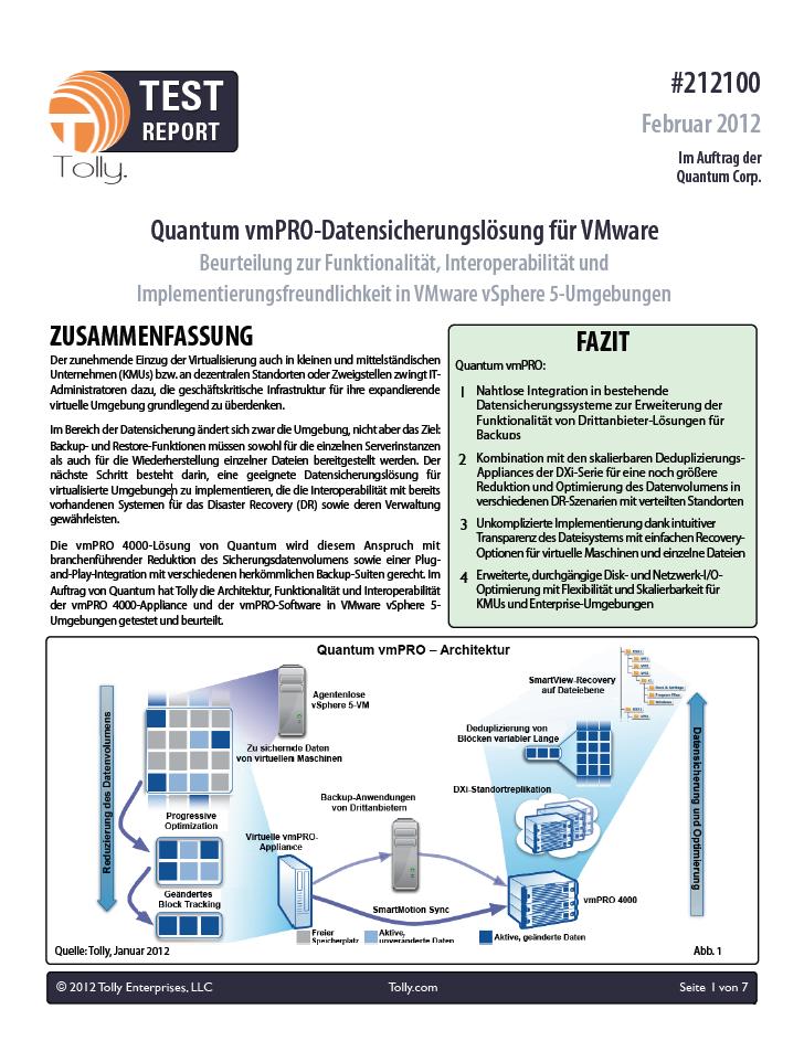 Quantum vmPRO-Datensicherungslösung für VMware