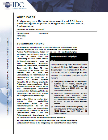 Steigerung von Unternehmenswert und ROI durch anwendungsbezogenes Management der Netzwerk-Performance