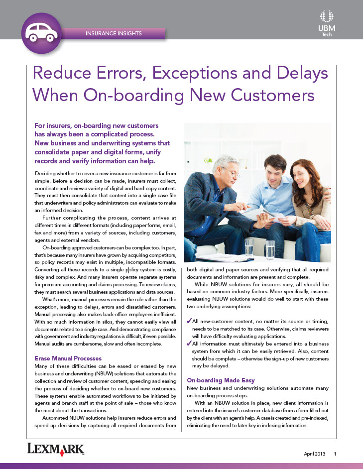 Reduce Errors, Exceptions and Delays When On-boarding New Customers