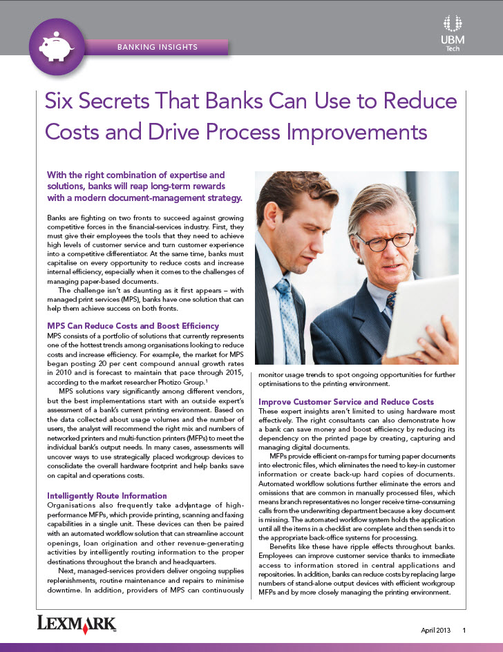 Six Secrets That Banks Can Use to Reduce Costs and Drive Process Improvements
