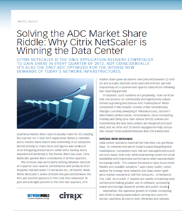 Solving the ADC Market Share Riddle: Why Citrix NetScaler is winning the Data Center