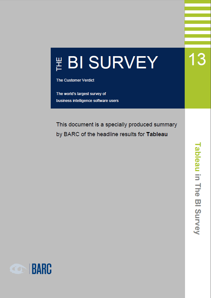 Tableau in The BI Survey