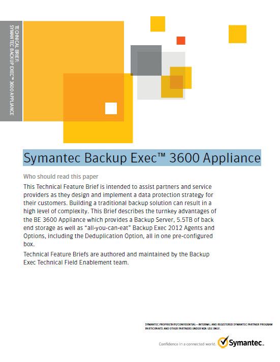 Technische Funktionsbeschreibung zu Symantec Backup Exec 3600 Appliance
