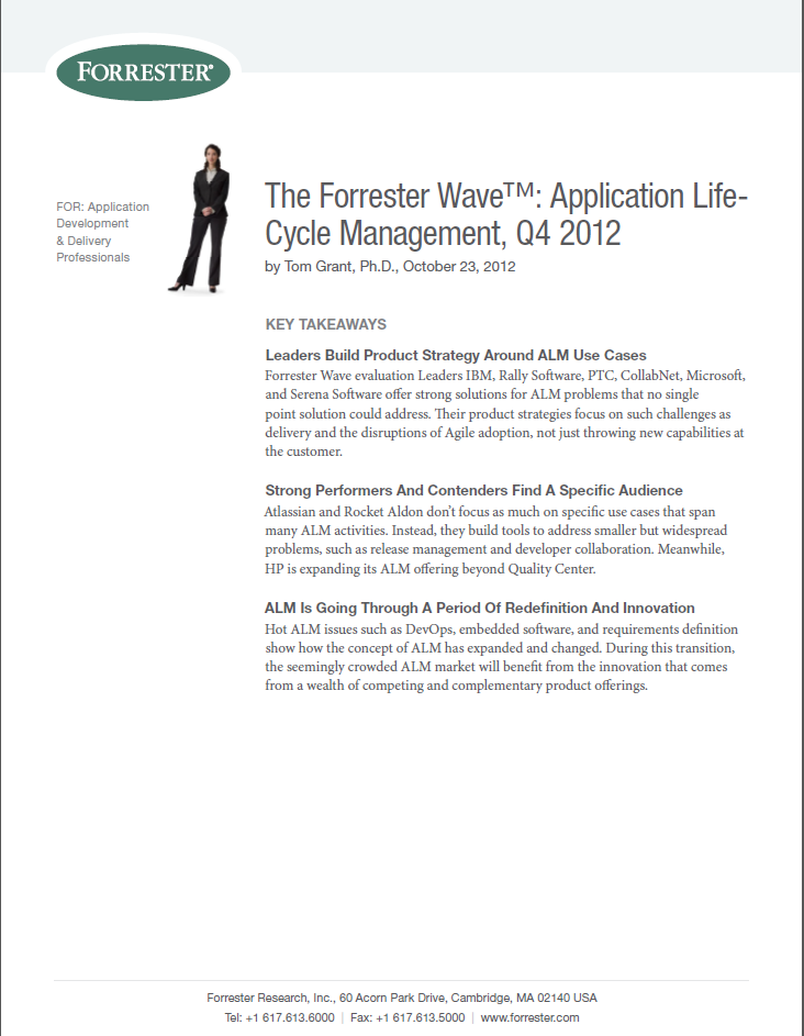 The Forrester Wave: Application Life-Cycle Management, Q4 2012