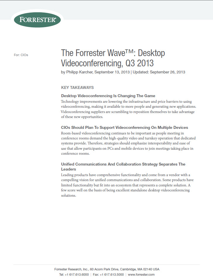 The Forrester Wave™: Desktop – Videoconferencing, Q3 2013