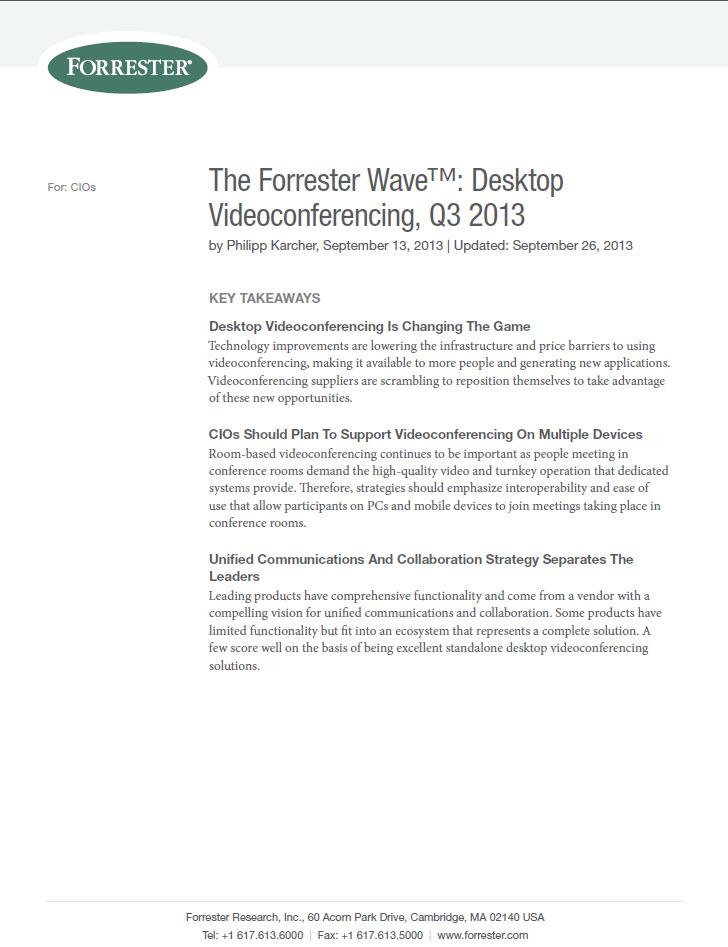 The Forrester Wave™: Desktop – Videoconferencing, Q3 2013