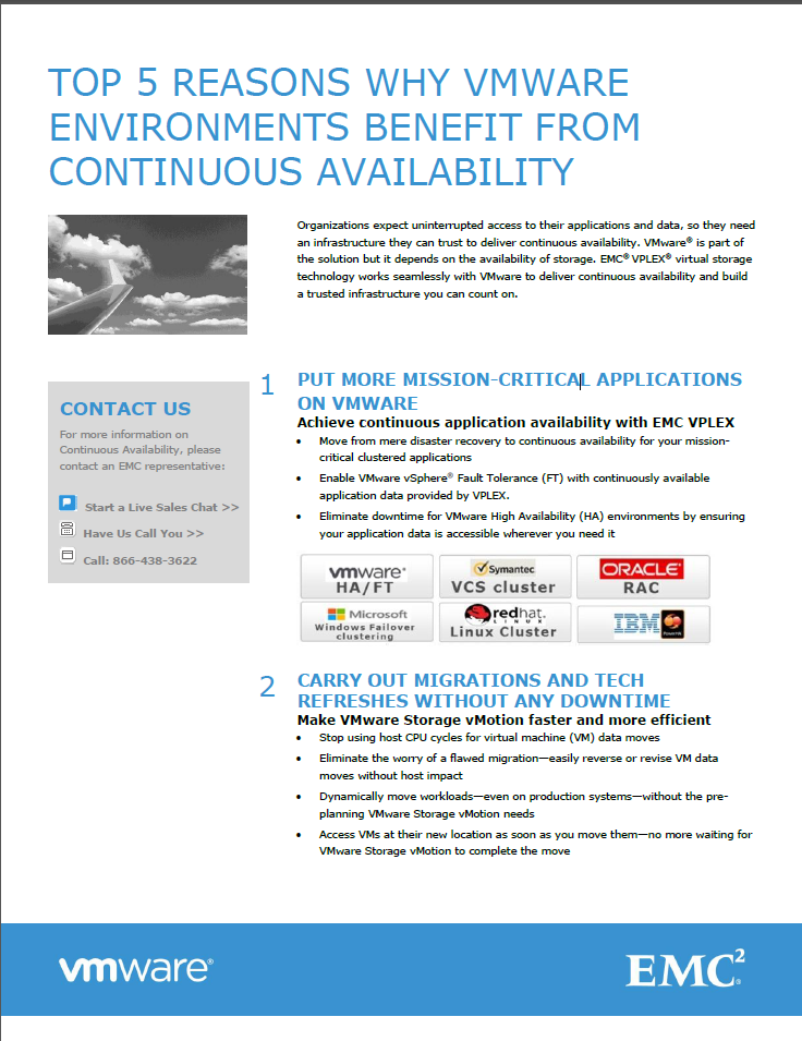 TOP 5 REASONS WHY VMWARE ENVIROMENTS BENEFIT FROM CONTINUOUS AVAILABILIY