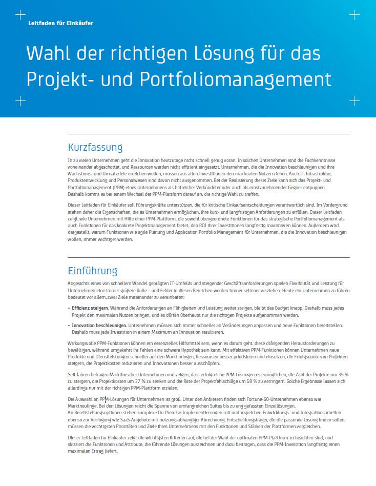 Wahl der richtigen Lösung für das Projekt- und Portfoliomanagement