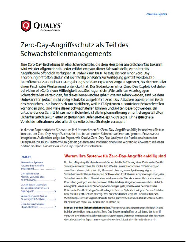 Zero-Day-Angriffsschutz als Teil des Schwachstellenmanagents