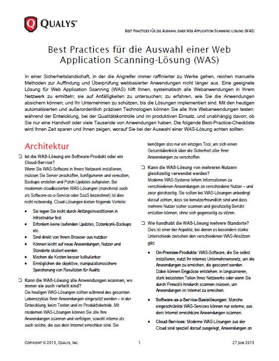 Best Practices für die Auswahl einer Web Application Scanning-Lösung (WAS)