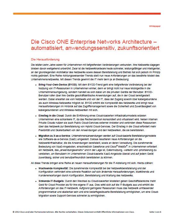Die Cisco ONE Enterprise Networks Architecture – automatisiert, anwendungssensitiv, zukunftsorientiert