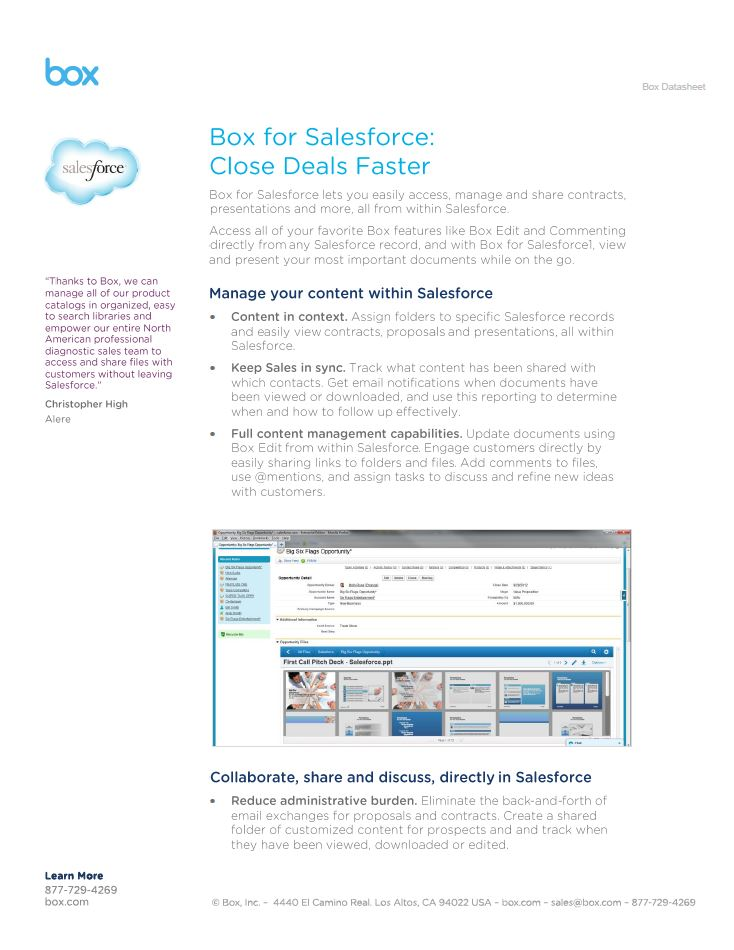 Box for Salesforce – Close deals faster