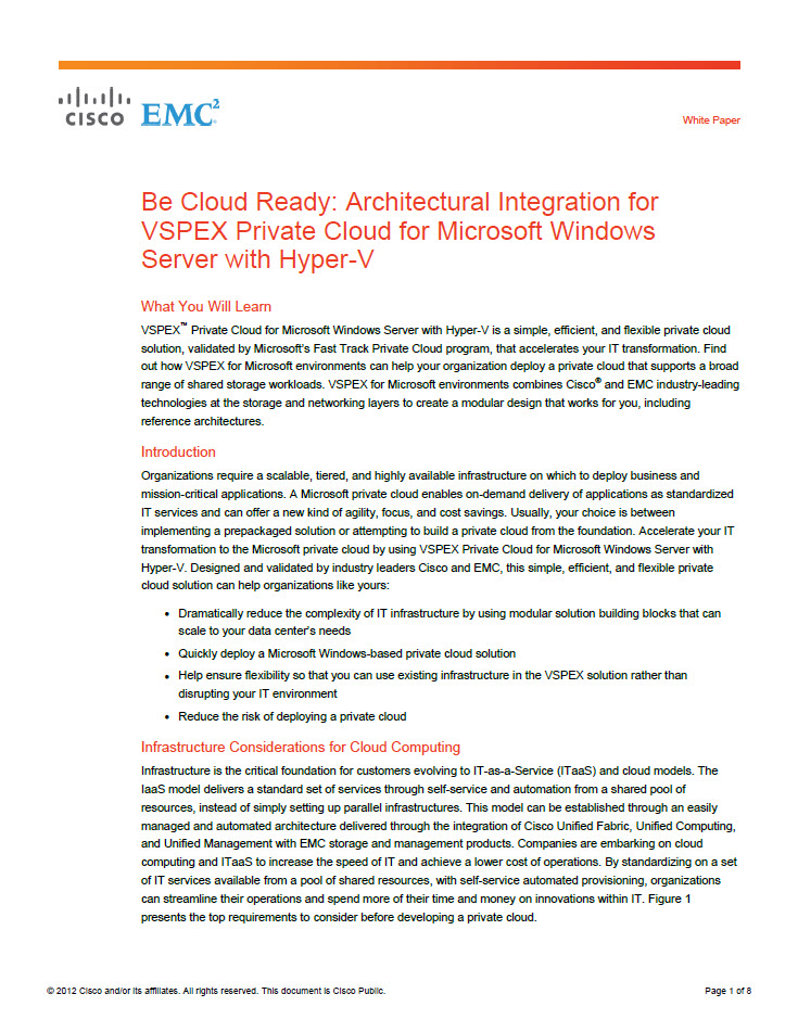 Be Cloud Ready: Architectural Integration for VSPEX Private Cloud for Microsoft Windows Server with Hyper-V