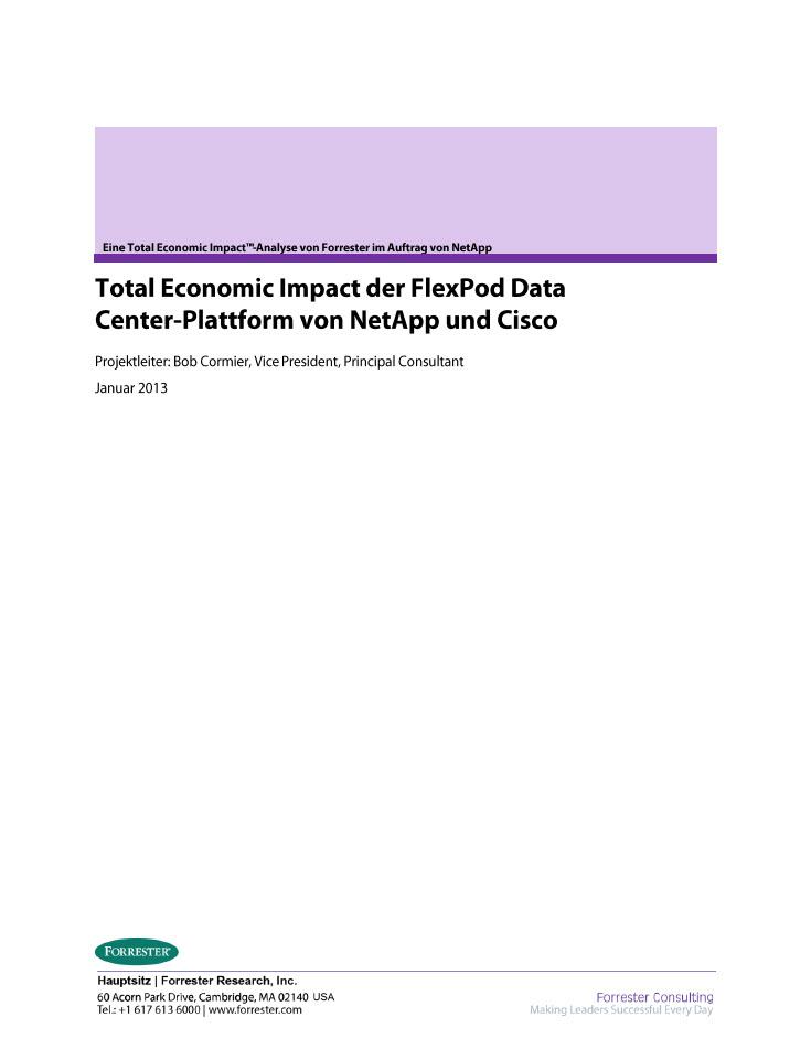 Total Economic Impact der FlexPod Data Center Plattform von NetApp und Cisco
