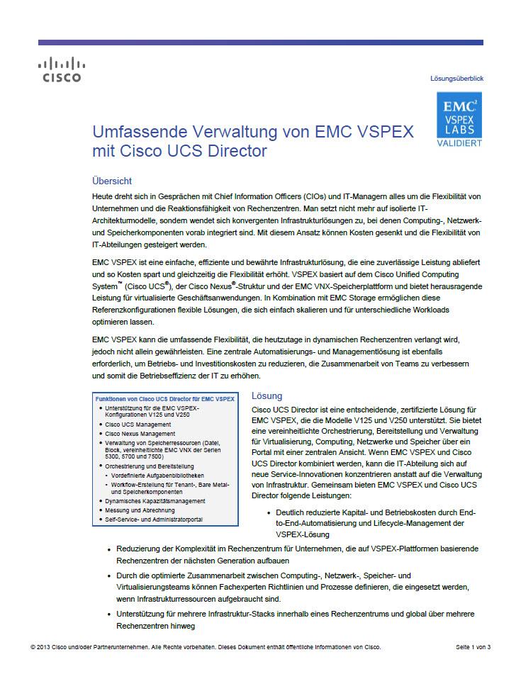 Umfassende Verwaltung von EMC VSPEX mit Cisco UCS Director