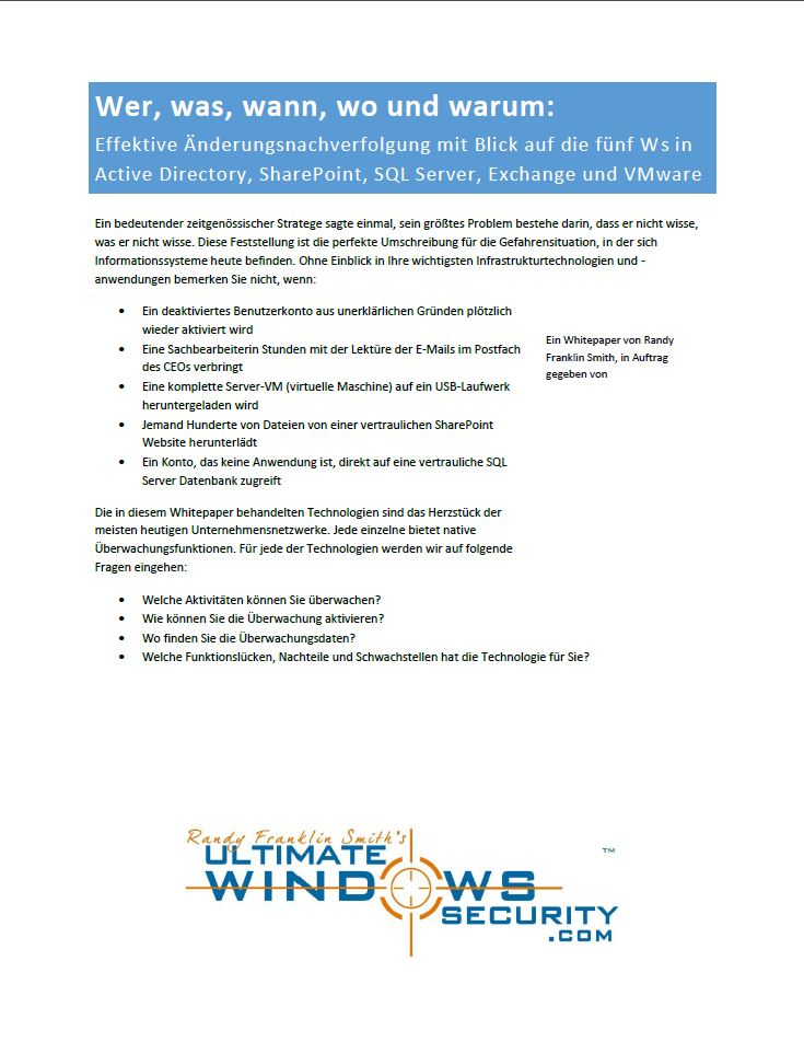 Effektive Änderungsnachverfolgung mit Blick auf die fünf Ws in Active Directory, SharePoint, SQL Server, Exchange und VMware