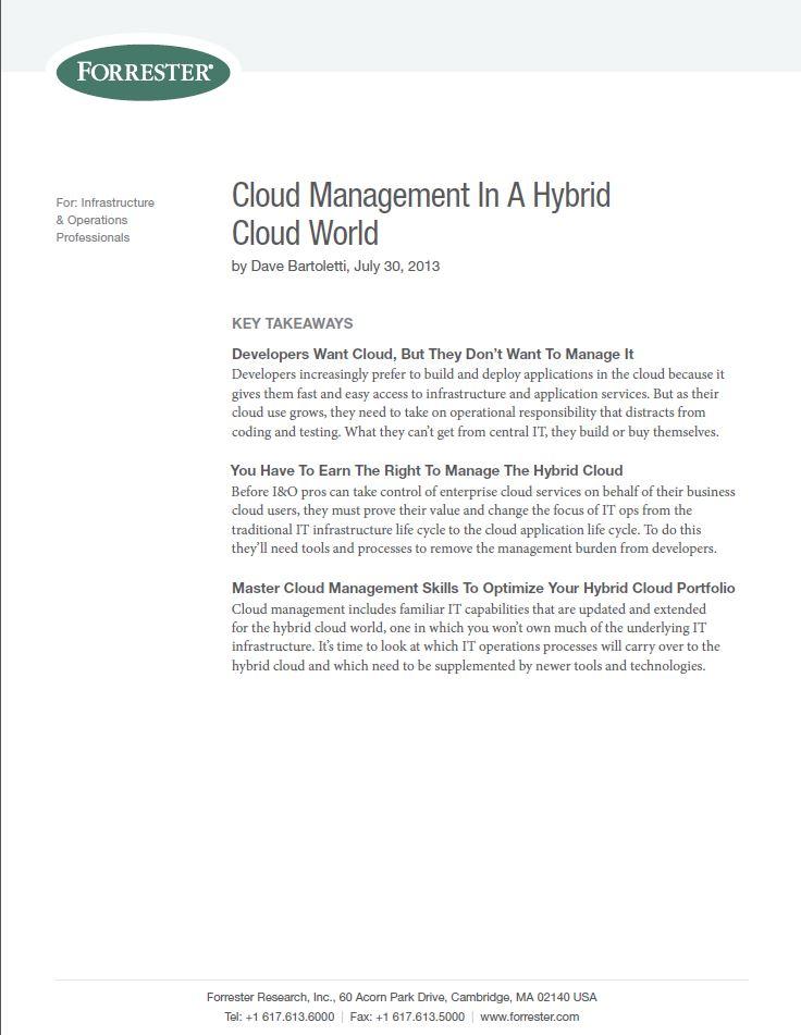 Cloud Management In A Hybrid Cloud World