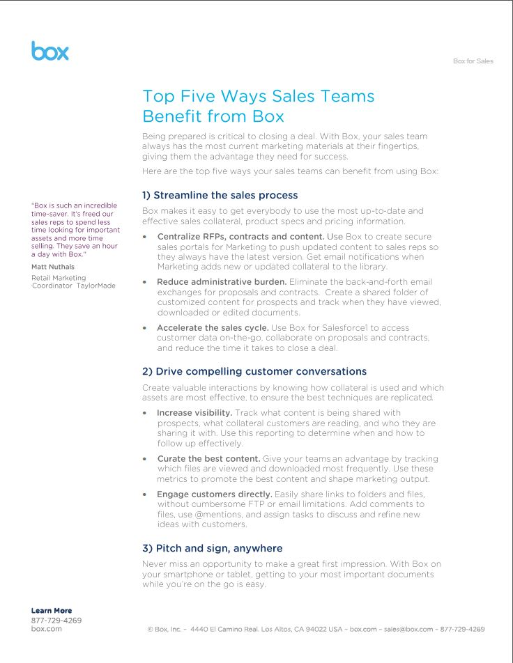 Top Five Ways Sales Teams Benefit From Box