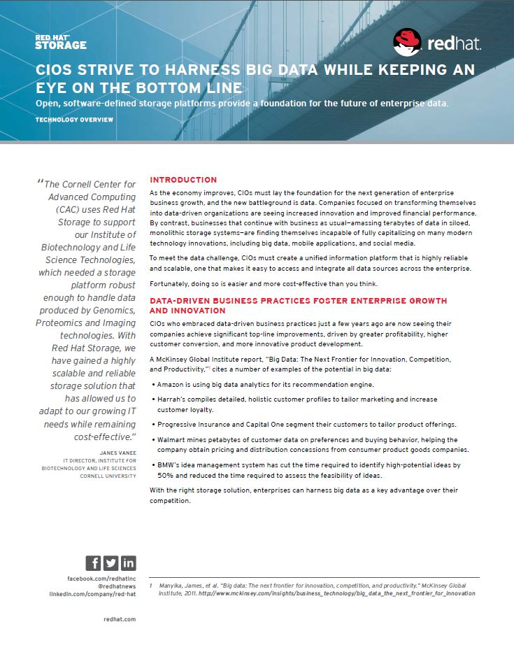 CIOs strive to harness big data while keeping an eye on the bottom line