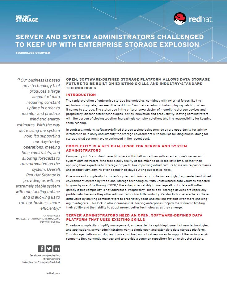 Server and system administrators challenged to keep up with enterprise storage explosion