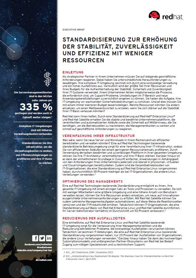 Standardisierung zur Erhöhung der Stabilität, Zuverlässigkeit und Effizienz mit weniger Ressourcen