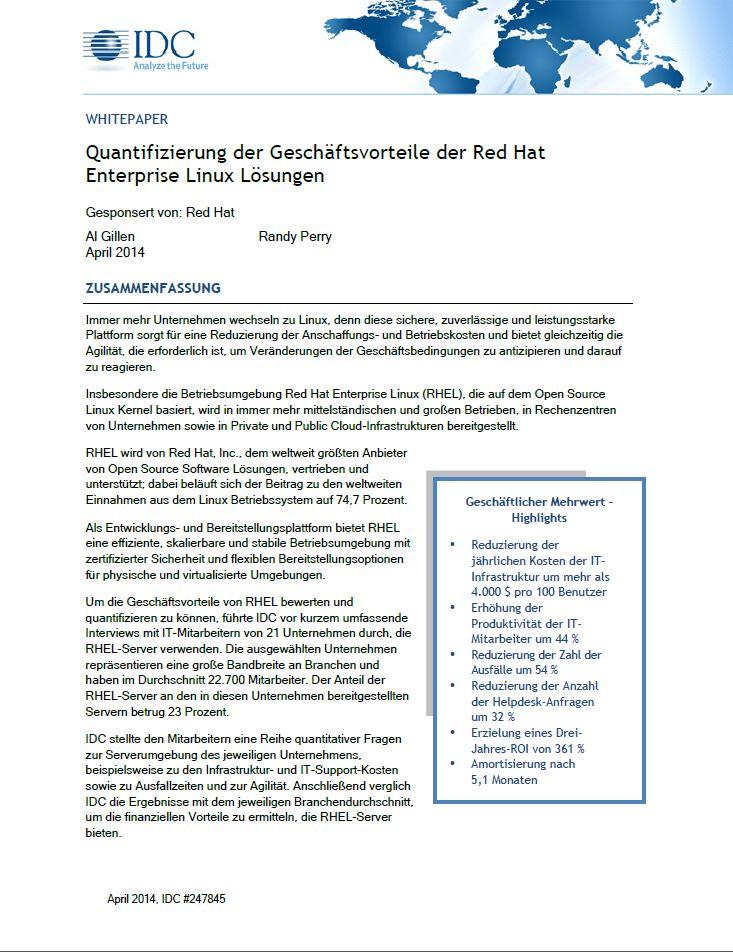 Quantifizierung der Geschäftsvorteile der Red Hat Enterprise Linux Lösungen