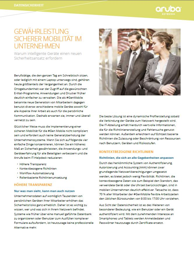 Gewährleistung sicherer Mobilität im Unternehmen