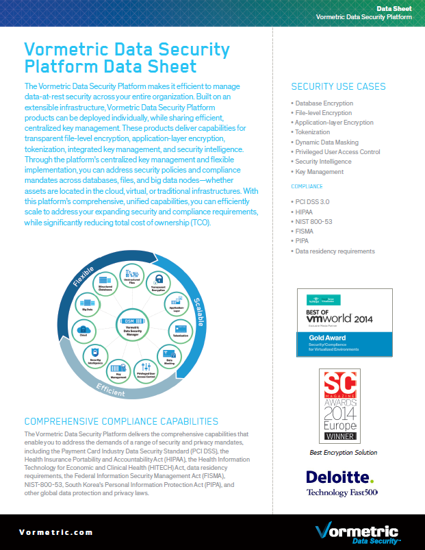 Vormetric Data Security Platform Data Sheet