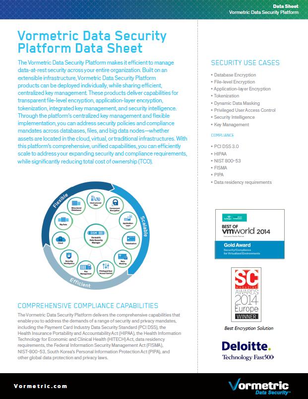 Vormetric Data Security Platform Data Sheet