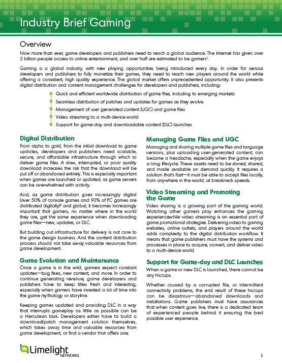 Industry Brief on Gaming