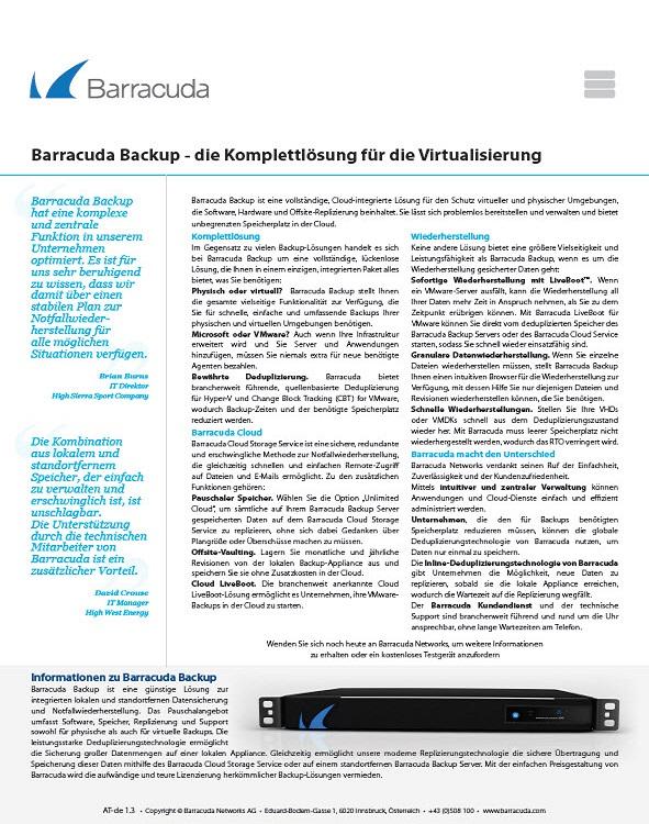 Barracuda Backup – die Komplettlösung für die Virtualisierung