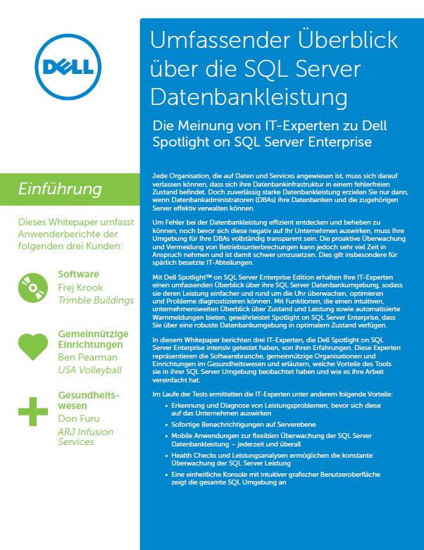 Umfassender Überblick über die SQL Server Datenbankleistung